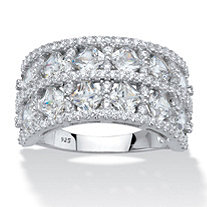 Princess-Cut and Round Cubic Zirconia Wide Anniversary Ring 3.42 TCW Platinum over Sterling Silver