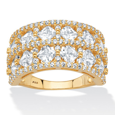 Princess-Cut and Round Cubic Zirconia  Silver Wide Anniversary Ring 3.42 TCW 18k Gold over Sterling at PalmBeach Jewelry