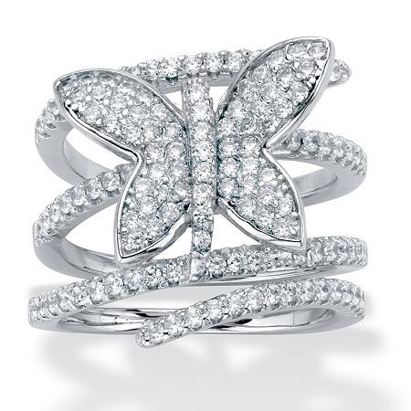 Round Cubic Zirconia Butterfly Wrap Ring 1.95 TCW Silvertone at PalmBeach Jewelry