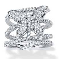 Round Cubic Zirconia Butterfly Wrap Ring 1.95 TCW Silvertone