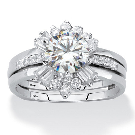 Round Cubic Zirconia 3-Piece Bridal Ring Set 2.28 TCW Platinum over Sterling Silver at PalmBeach Jewelry