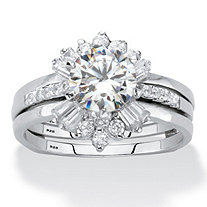 Round Cubic Zirconia 3-Piece Bridal Ring Set 2.28 TCW Platinum over Sterling Silver