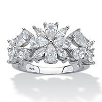 Pear and Marquise-Cut Cubic Zirconia Silver Flower Cocktail Ring 2.49 TCW Platinum over Sterling