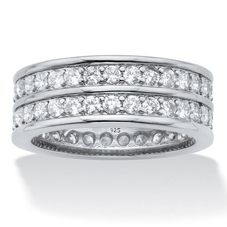 Round Cubic Zirconia  Double-Row Gender-Neutral Eternity Ring 2.05 TCW, Platinum over Sterling Silver at PalmBeach Jewelry
