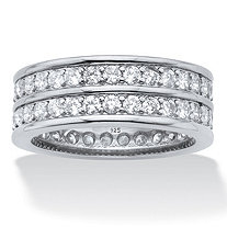 Round Cubic Zirconia  Double-Row Gender-Neutral Eternity Ring 2.05 TCW, Platinum over Sterling Silver