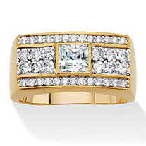 Men's Square-Cut and Round Cubic Zirconia Multi-Row Ring 1.38 TCW 14k Gold-Plated