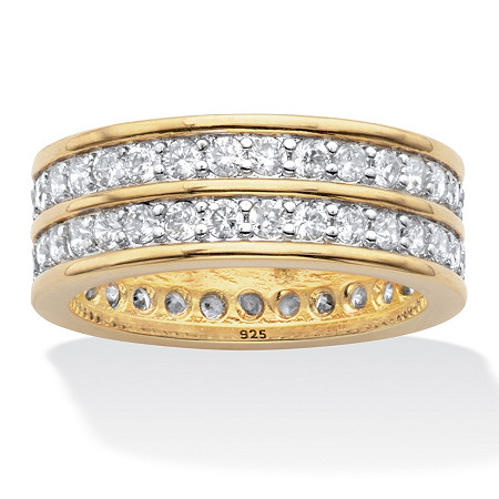 Round Cubic Zirconia Double-Row Gender-Neutral Eternity Ring 2.05 TCW 14k Gold over Sterling Silver at PalmBeach Jewelry