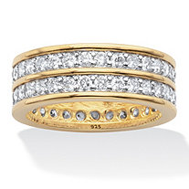 Round Cubic Zirconia Double-Row Gender-Neutral Eternity Ring 2.05 TCW 14k Gold over Sterling Silver