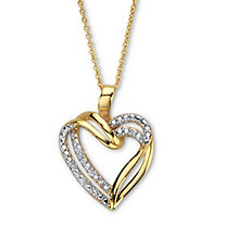 Round Diamond Accent Openwork Heart Pendant Necklace 18