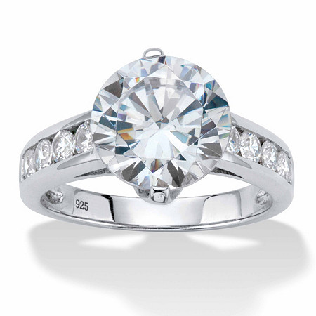 Round Cubic Zirconia Channel-Set Engagement Ring 4.48 TCW Platinum over Sterling Silver at PalmBeach Jewelry