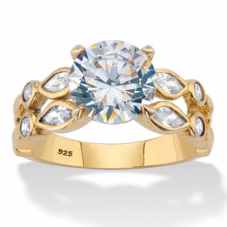 Round and Marquise-Cut Double-Row Engagement Ring 4.34 TCW 18k Gold over Sterling Silver at PalmBeach Jewelry