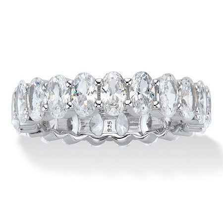 Oval-Cut Cubic Zirconia Eternity Ring 5.46 TCW Platinum over Sterling Silver at PalmBeach Jewelry