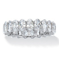 Oval-Cut Cubic Zirconia Eternity Ring 5.46 TCW Platinum over Sterling Silver