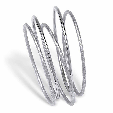 "Textured and Polished 5-Piece Bangle Bracelet Set in Silvertone 9"" at PalmBeach Jewelry"