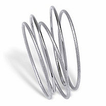 Textured and Polished 5-Piece Bangle Bracelet Set in Silvertone 9