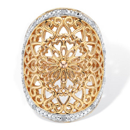 1/10 TCW Round Diamond Accent 18k Gold-Plated Two-Tone Filigree Cocktail Ring at Direct Charge presents PalmBeach