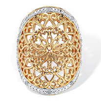 1/10 TCW Round Diamond Accent 18k Gold-Plated Two-Tone Filigree Cocktail Ring