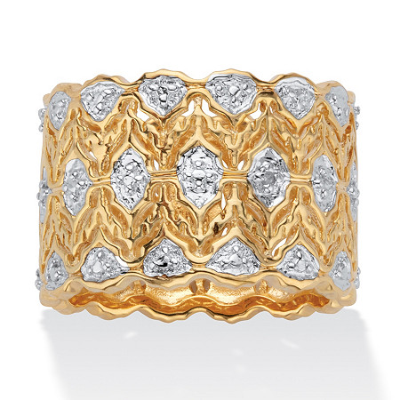 Round Diamond Accent Two-Tone Wide Ring 18k Gold-Plated Scalloped at PalmBeach Jewelry