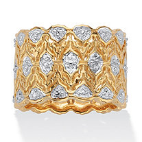 Round Diamond Accent Two-Tone Wide Ring 18k Gold-Plated Scalloped