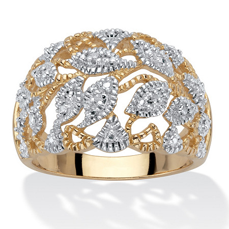 Round Diamond Accent Two-Tone Openwork Dome Leaf Ring 18k Gold-Plated at PalmBeach Jewelry