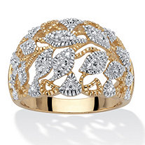 Round Diamond Accent Two-Tone Openwork Dome Leaf Ring 18k Gold-Plated