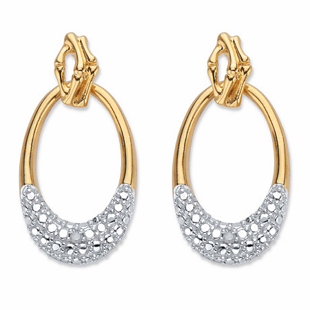 """Round Diamond Accent Oval Drop Earrings 1"""" 18k Gold-Plated at PalmBeach Jewelry"""