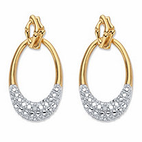 "Round Diamond Accent Oval Drop Earrings 1"" 18k Gold-Plated"