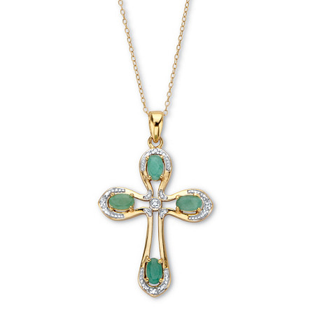 """Oval-Cut Genuine Green Emerald and Diamond Cross Pendant Necklace 18"""" 1 TCW 18k Gold over Sterling Silver at PalmBeach Jewelry"""