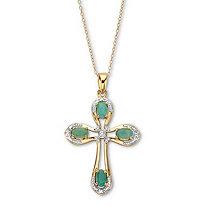 Oval-Cut Genuine Green Emerald and Diamond Cross Pendant Necklace 18