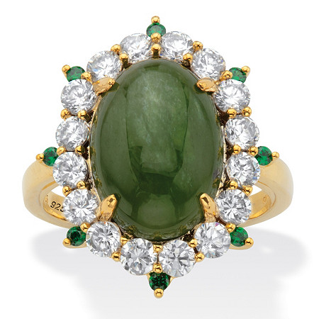Oval Genuine Green Jade and Round Cubic Zirconia Halo Ring 1.27 TCW 18k Gold over Sterling Silver at PalmBeach Jewelry