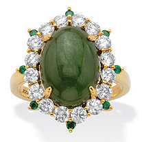 Oval Genuine Green Jade and Round Cubic Zirconia Halo Ring 1.27 TCW 18k Gold over Sterling Silver