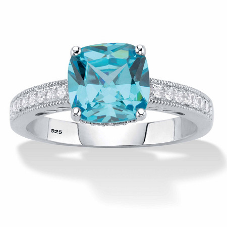 Cushion-Cut Blue and White Round Cubic Zirconia Milgrain Ring 1.89 TCW Sterling Silver at PalmBeach Jewelry