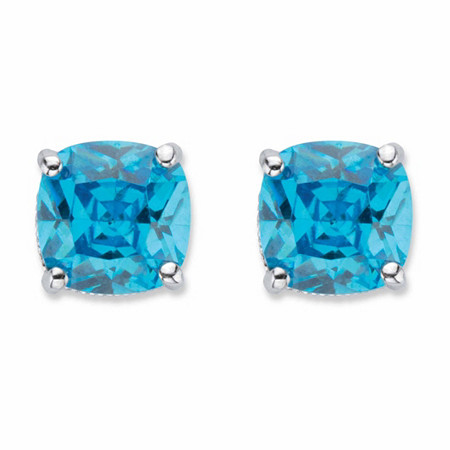 Cushion-Cut Blue Cubic Zirconia Stud Earrings 2.70 TCW Sterling Silver at PalmBeach Jewelry