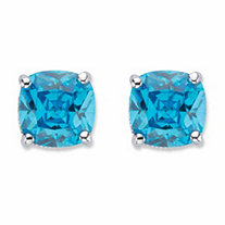 Cushion-Cut Blue Cubic Zirconia Stud Earrings 2.70 TCW Sterling Silver
