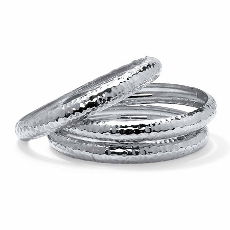 "3-Piece Hammered Bangle Bracelet Set in Silvertone 8.5"" at PalmBeach Jewelry"