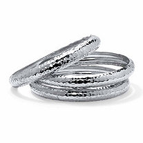 3-Piece Hammered Bangle Bracelet Set in Silvertone 8.5""