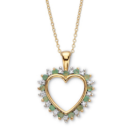 """Round Genuine Green Emerald and Diamond Accent Heart Pendant Necklace 22"""" .52 TCW 18k Gold over Sterling Silver at PalmBeach Jewelry"""