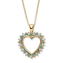 "Round Genuine Green Emerald and Diamond Accent Heart Pendant Necklace 22"" .52 TCW 18k Gold over Sterling Silver"