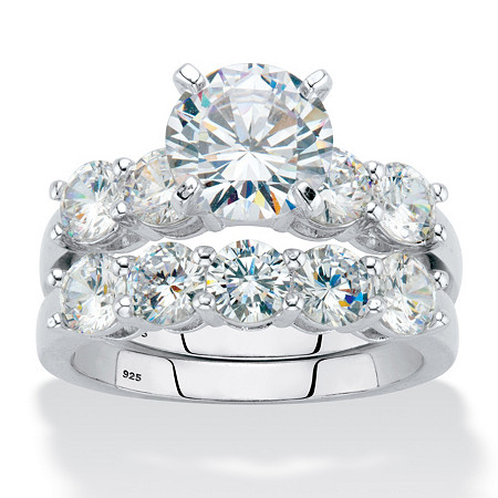 Round Cubic Zirconia 2-Piece Bridal Ring Set 4.25 TCW Platinum over Sterling Silver at PalmBeach Jewelry