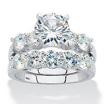 Round Cubic Zirconia 2-Piece Bridal Ring Set 4.25 TCW Platinum over Sterling Silver