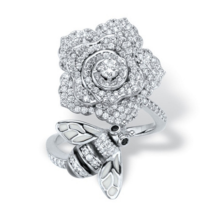 Round Black and White Cubic Zirconia Flower and Bee Cocktail Ring 1.27 TCW  Platinum-Plated at PalmBeach Jewelry