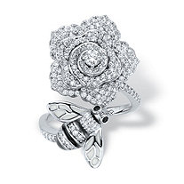 Round Black and White Cubic Zirconia Flower and Bee Cocktail Ring 1.27 TCW Platinum-Plated