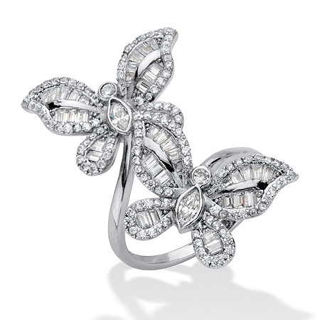 Round Cubic Zirconia Butterfly Wrap Cocktail Ring 4.41 TCW  Platinum-Plated at PalmBeach Jewelry