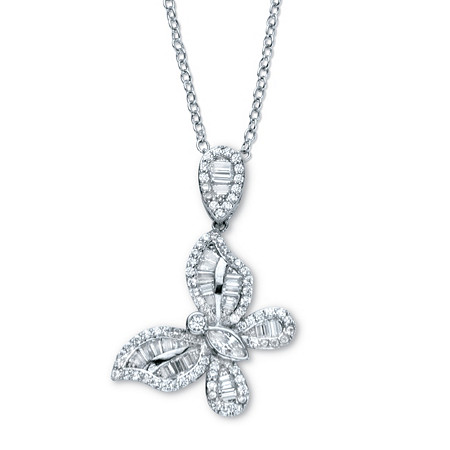 """Round Cubic Zirconia Butterfly Pendant Necklace 18"""" - 20"""" 2.01 TCW Platinum-Plated at PalmBeach Jewelry"""