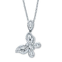 Round Cubic Zirconia Butterfly Pendant Necklace 18