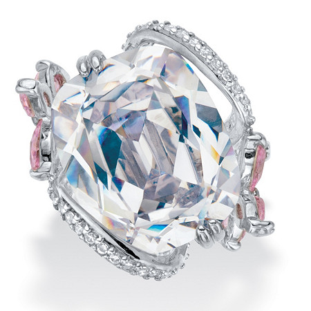 Cushion-Cut White and Pink Cubic Zirconia Flower Cocktail Ring 9.80 TCW Platinum-Plated at PalmBeach Jewelry