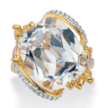 Cushion-Cut White and Pink Cubic Zirconia Flower Cocktail Ring (9.80 cttw) Gold-Plated at PalmBeach Jewelry
