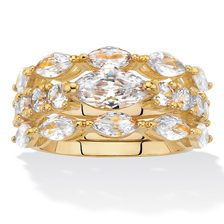 Marquise-Cut and Round Cubic Zirconia 3-Piece Bridal Ring Set 4.30 TCW Gold-Plated at PalmBeach Jewelry