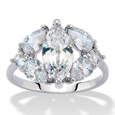 Marquise and Pear-Cut Cubic Zirconia Engagement Ring 3.76 TCW ,  Platinum-Plated at PalmBeach Jewelry