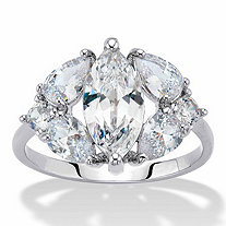 Marquise and Pear-Cut Cubic Zirconia Engagement Ring 3.76 TCW , Platinum-Plated